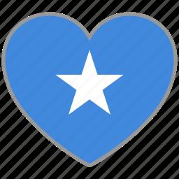 country, flag, flag heart, love, nation, somalia icon