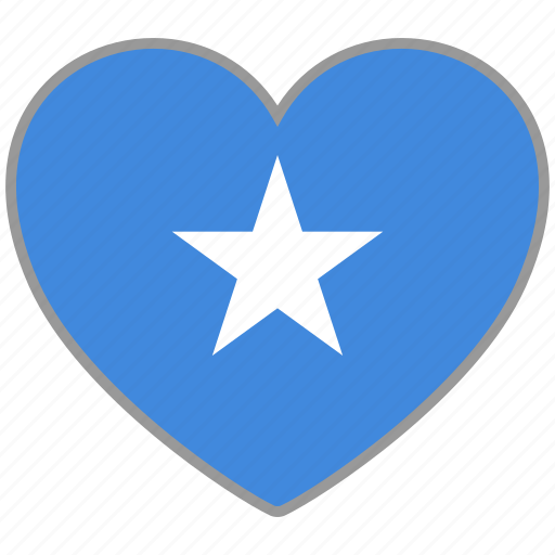 country, flag, flag heart, love, nation, somalia icon