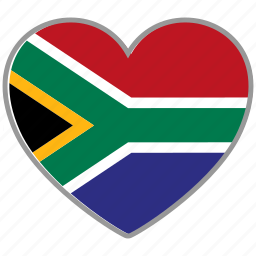 flag, flag heart, love, south africa icon