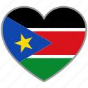 flag, flag heart, love, south sudan icon