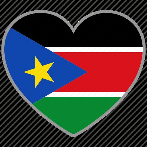flag, flag heart, love, south sudan icon