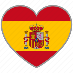 country, flag, flag heart, love, national, spain icon