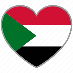 country, flag, flag heart, love, national, sudan icon