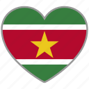 country, flag, flag heart, love, national, suriname icon