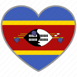 country, flag, flag heart, love, national, swaziland icon
