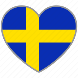 country, flag, flag heart, love, national, sweden icon