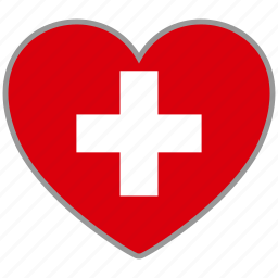 country, flag, flag heart, love, nation, switzerland icon
