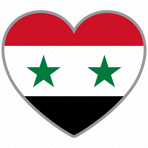 country, flag, flag heart, love, nation, syria icon