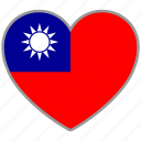 country, flag, flag heart, love, nation, taiwan icon