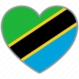 country, flag, flag heart, love, nation, tanzania icon