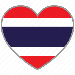 country, flag, flag heart, love, nation, thailand icon