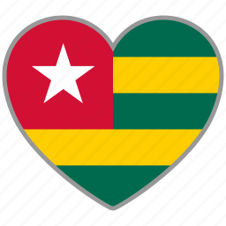 country, flag, flag heart, love, nation, togo icon
