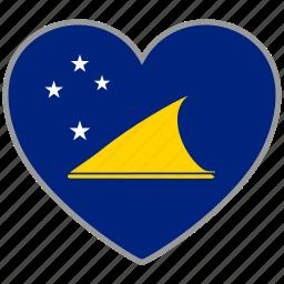 country, flag, flag heart, love, nation, tokelau icon