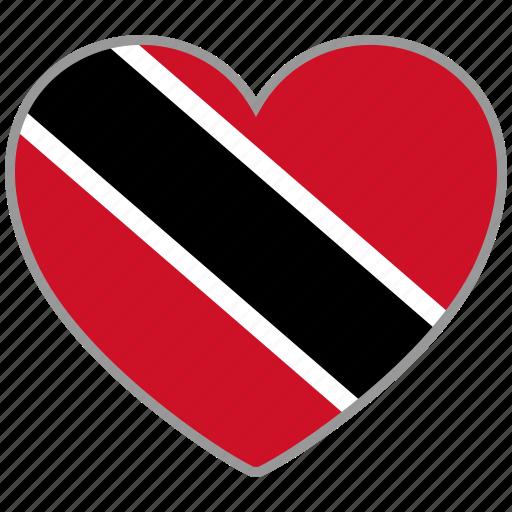 flag, flag heart, love, trinidad and tobago icon