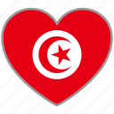 country, flag, flag heart, love, nation, tunisia icon