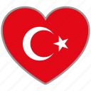 country, flag, flag heart, love, nation, turkey icon
