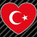 flag heart, turkey, country, flag, nation, love