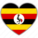 country, flag, flag heart, love, nation, uganda icon