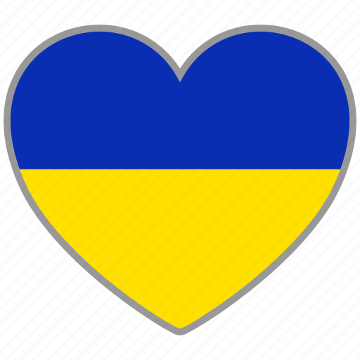 country, flag, flag heart, love, nation, ukraine icon