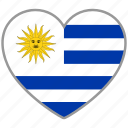 country, flag, flag heart, love, nation, uruguay icon