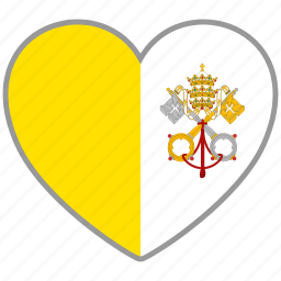 country, flag, flag heart, love, nation, vatican icon