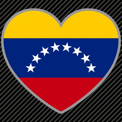country, flag, flag heart, love, nation, venezuela icon