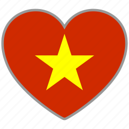 country, flag, flag heart, love, nation, vietnam icon