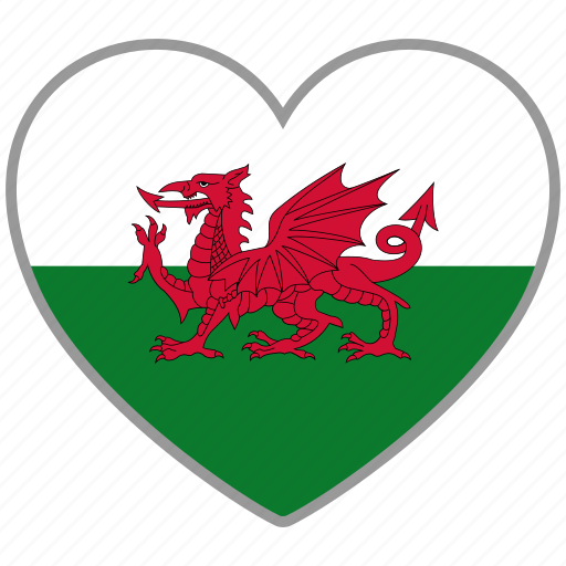 country, flag, flag heart, love, wales icon