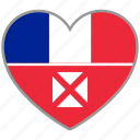 flag, flag heart, love, wallis and futuna icon