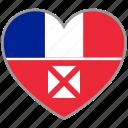 flag heart, wallis and futuna, flag, love