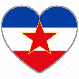 country, flag, flag heart, love, nation, yugoslavia icon