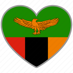 country, flag, flag heart, love, nation, zambia icon