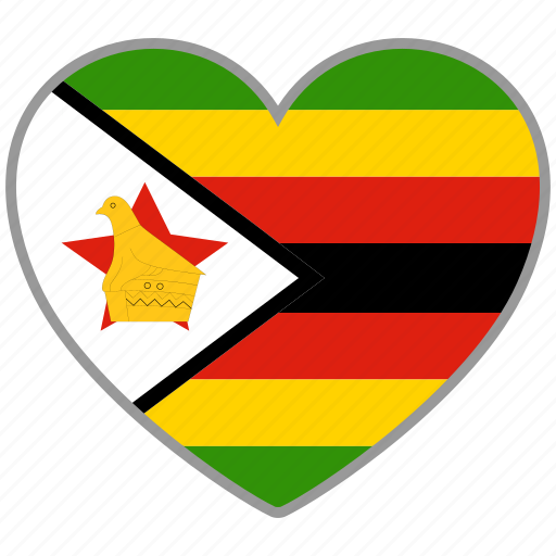country, flag, flag heart, love, nation, zimbabwe icon