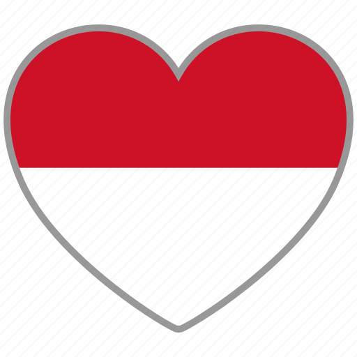 country, flag, flag heart, indonesia, love, nation icon