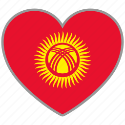 country, flag, flag heart, kyrgyzstan, love, nation icon