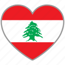 country, flag, flag heart, lebanon, love, nation icon