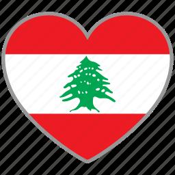 country, flag, flag heart, lebanon, love, nation icon