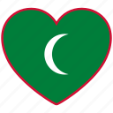 country, flag, flag heart, love, maldives, nation icon