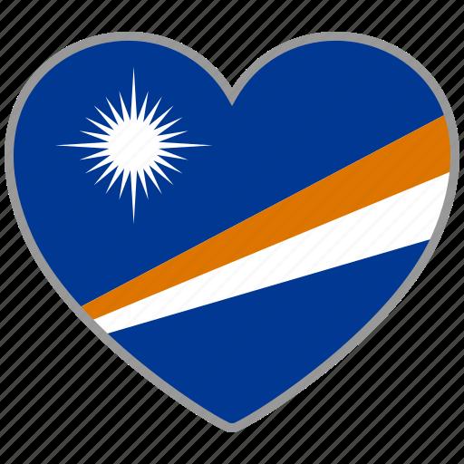 flag, flag heart, love, marshall islands icon
