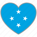 flag heart, micronesia, country, flag, nation, love icon