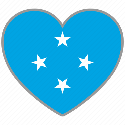 country, flag, flag heart, love, micronesia, nation icon