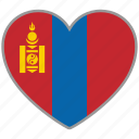 country, flag, flag heart, love, mongolia, nation icon