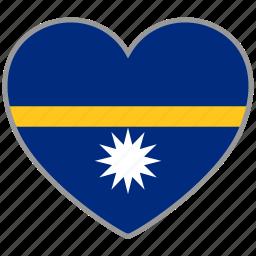 flag, flag heart, love, nation, national, nauru icon