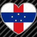 flag, flag heart, love, netherlands antilles icon