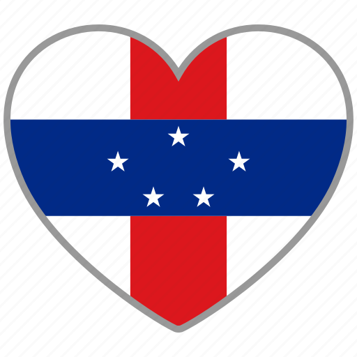 flag, flag heart, love, netherlands antilles icon