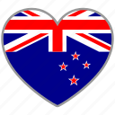 country, flag, flag heart, love, national, new zealand icon