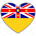 country, flag, flag heart, love, national, niue icon