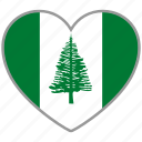 flag, flag heart, love, norfolk island icon