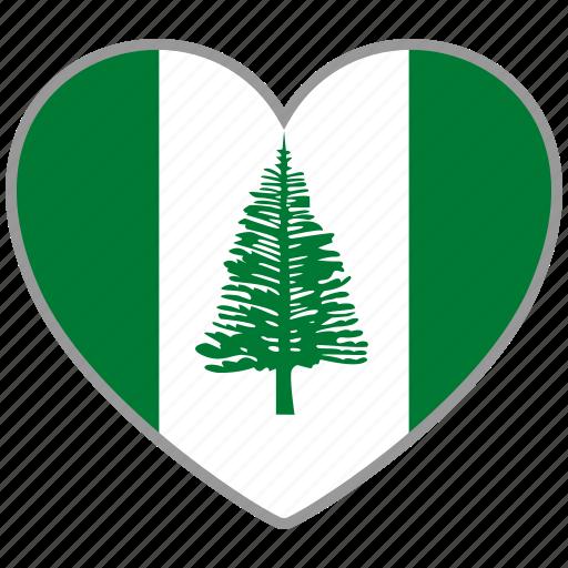 flag, flag heart, love, norfolk island icon