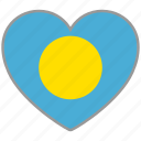 country, flag, flag heart, love, national, palau icon